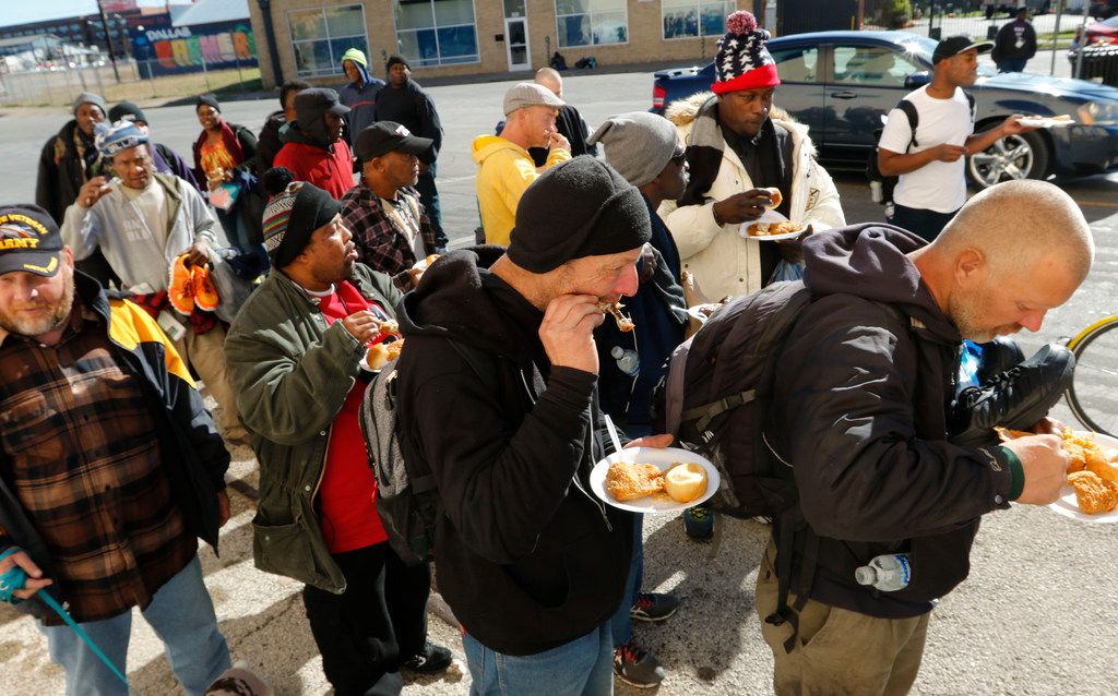 """""""These Are They"""" Homeless Outreach held their 1st Annual Holiday Helping Hand for the homeless on Saturday, Dec. 9, 2017, at Park Ave. and Marilla Street in downtown Dallas. They served hot meals, distributed hundreds of sleeping bags, blankets, clothes, coats, shoes and sack lunches on Saturday. They also serve 80 sack lunches every week on Park Avenue to the homeless."""