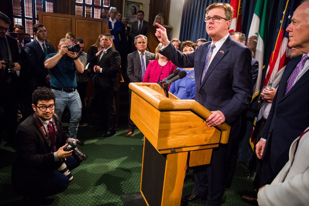 Texas Lt. Gov. Dan Patrick speaks during a press conference regarding S.R. 535 at the Texas Capitol in Austin, Texas on April 17, 2019. Texas Senate Resolution 535 was passed on April 2.