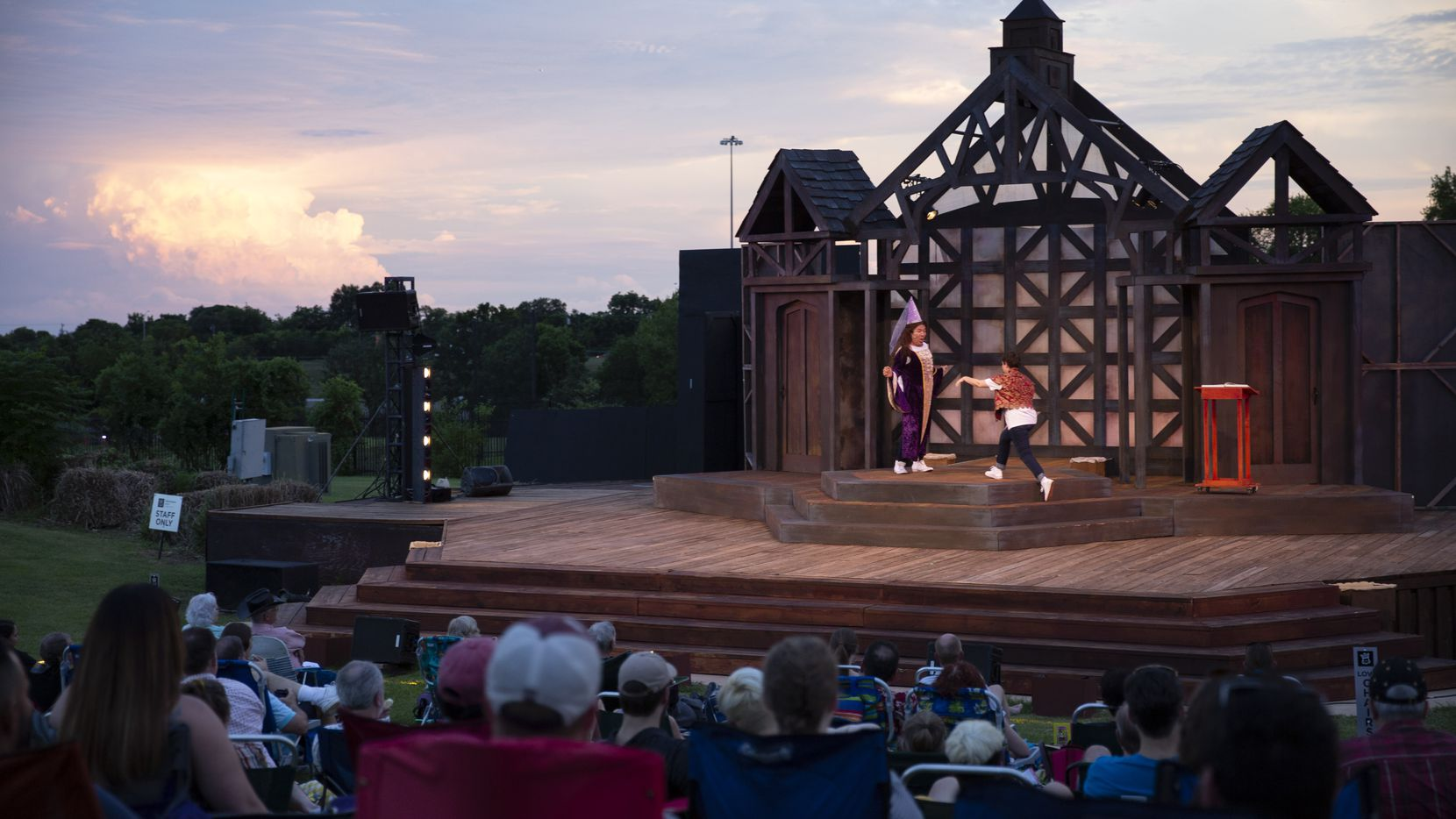 Shakespeare Dallas performs under the stars at Samuell-Grand Amphitheater in Dallas.