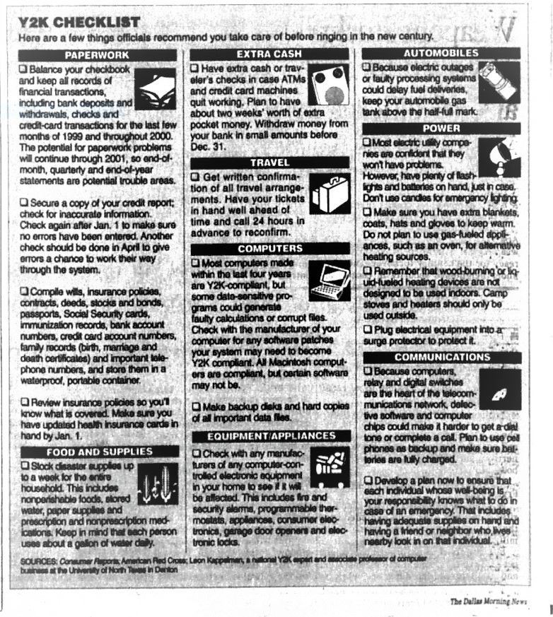 Snip of the Y2K Checklist from the issue published on Dec. 31, 1999.