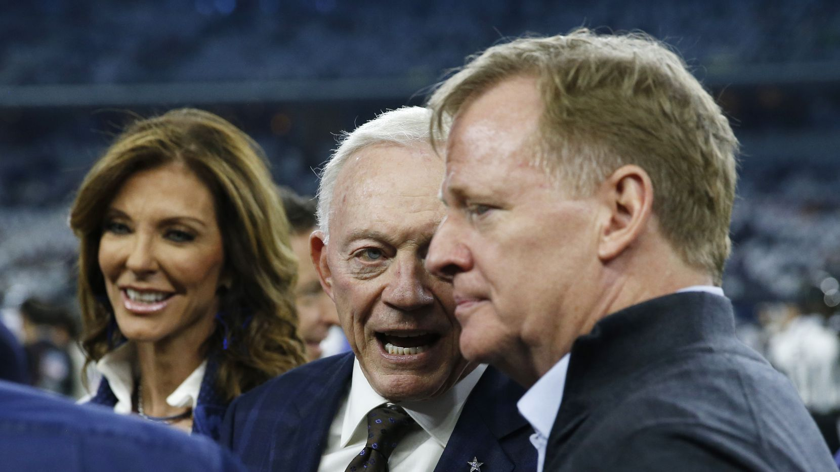 Dallas Cowboys Jerry Jones talks with NFL commissioner Roger Goodell and Dallas Cowboys Charlotte Jones before a NFL playoff game at AT&T Stadium in Arlington, on Saturday, January 5, 2019.