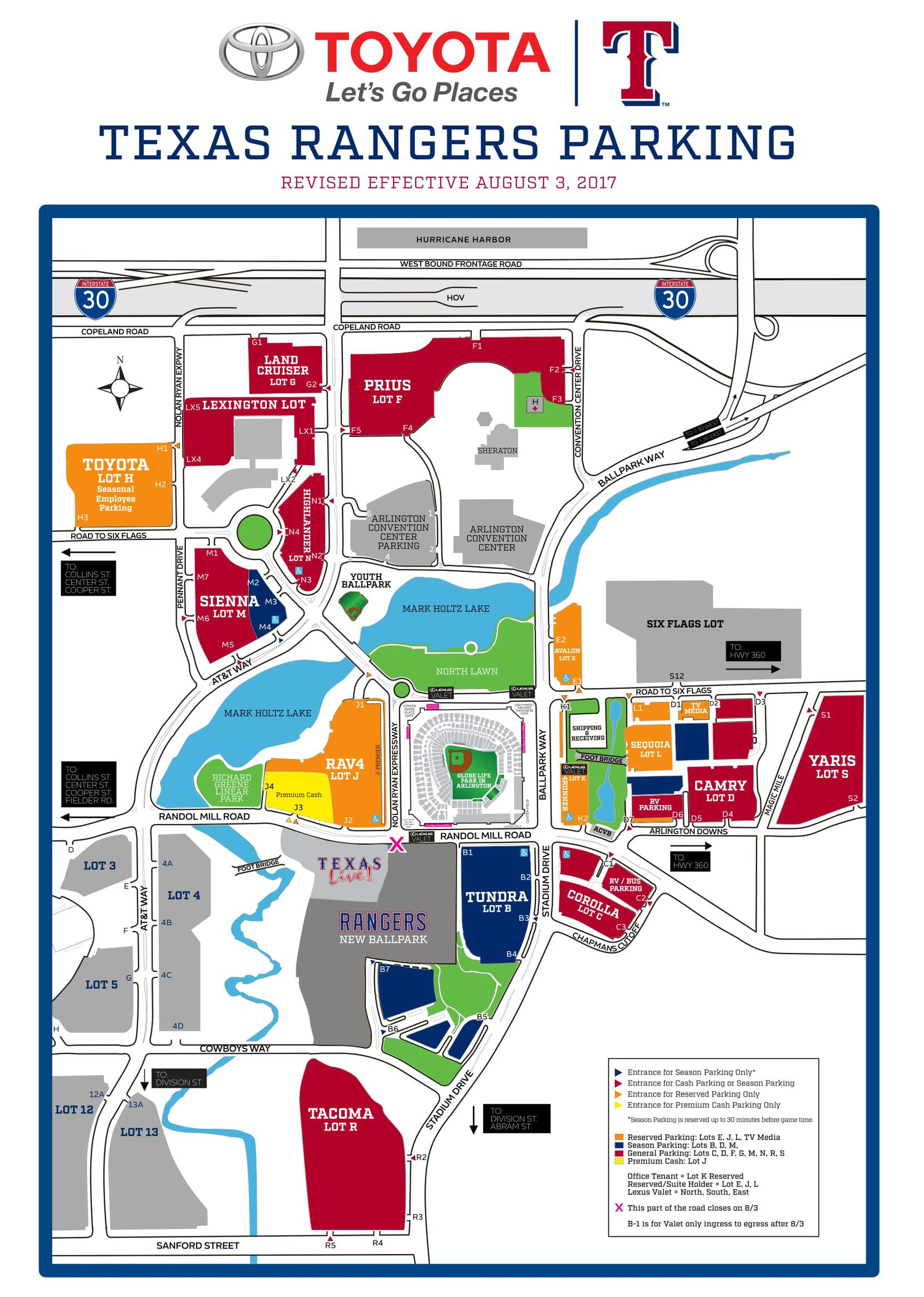 "This is the parking map Rangers fans will need to pay attention to in August. Note the small ""X"" that marks where utility work will begin near Nolan Ryan Expressway and the site of the team's new retractable roof stadium."