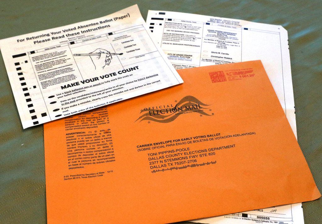 """Annette and Steve Perkins, both 70, are among dozens of potential victims of voter fraud in this election cycle. This is the ballot Steve received in the U.S. mail at his home in Grand Prairie, Texas. They both received Dallas County ballots in the mail that they did not request. Gloria filled it out and left it on her doorstep for the mailman. But she found out later that someone might have fraudulently tampered with it, because the county elections office said someone marked himself or herself as a witness on her ballot as """"Jose Rodriguez"""" but she doesn't know anyone by that name. The same name has been appearing on elderly people's ballots across West Dallas and Grand Prairie this election cycle, prompting concerns of widespread voter fraud. Photo taken on Thursday, April 27, 2017."""