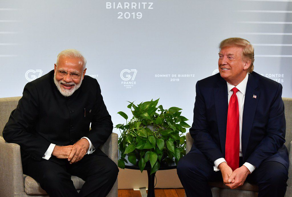Indian Prime Minister Narendra Modi and President Donald Trump spoke during a bilateral meeting in Biarritz, France, at the annual G7 Summit in August 2019. Trump later joined Modi at a massive gathering of Indian Americans in Houston.