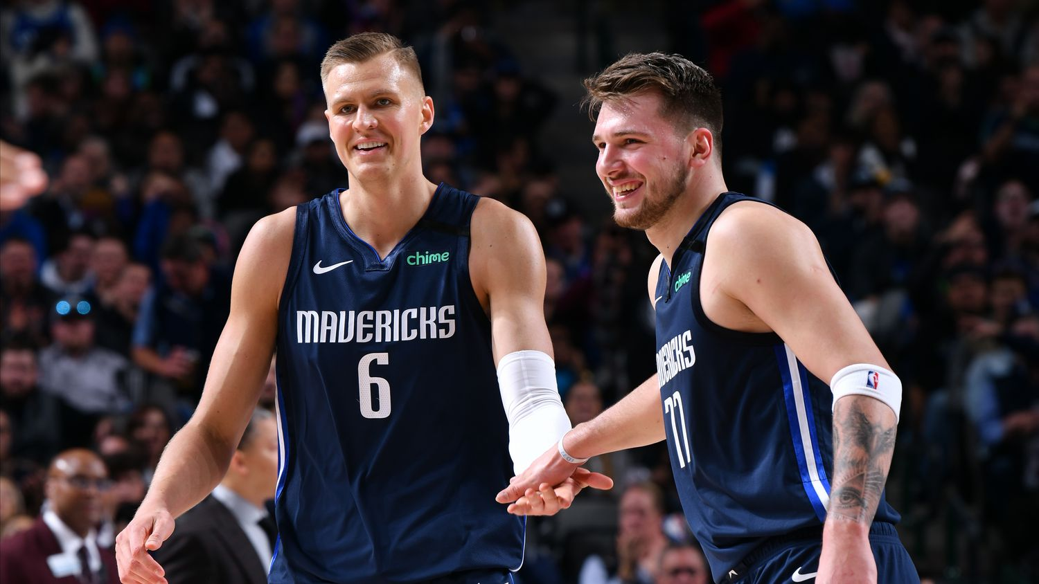 FILE — Kristaps Porzingis #6 and Luka Doncic #77 of the Dallas Mavericks January 21, 2020 at the American Airlines Center in Dallas, Texas. Doncic and Porzingis' on-court interactions, or lack thereof, have been apprehensively tracked by Mavs fans in recent weeks.