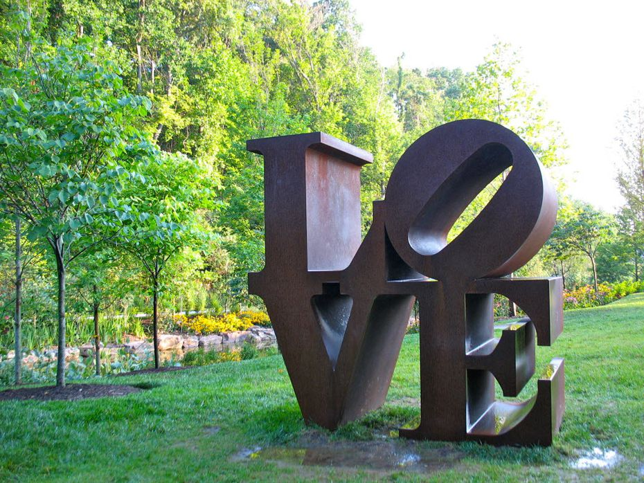 """Robert Indiana's """"LOVE"""" sculpture can be found in many cities. Here it is in Bentonville, Ark."""