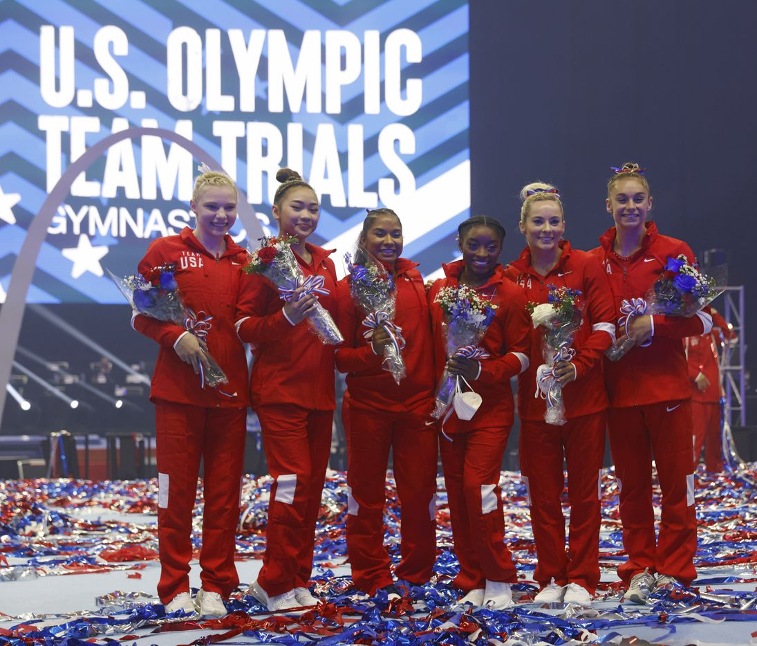 Women's U.S. Olympic gymnastics team Jade Carey, Sunisa Lee, Jordan Chiles, Simone Biles, MyKayla Skinner, and Grace McCallum pose for a portrait during day 2 of the women's 2021 U.S. Olympic Trials at The Dome at America's Center on Sunday, June 27, 2021 in St Louis, Missouri.(Vernon Bryant/The Dallas Morning News)