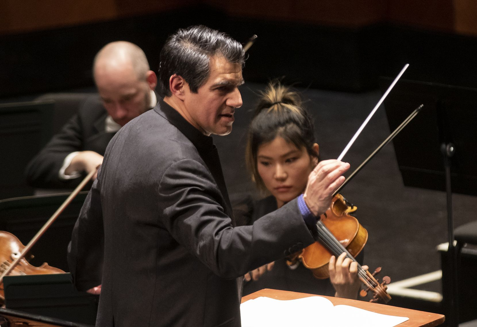 Miguel Harth-Beyodya conducts the Fort Worth Symphony Orchestra in Beethoven's Concerto No. 2 in C Major, op. 19, with pianist Joyce Yang, during the Cliburn concert series at Bass Performance Hall on Jan. 4, 2020 in Fort Worth.