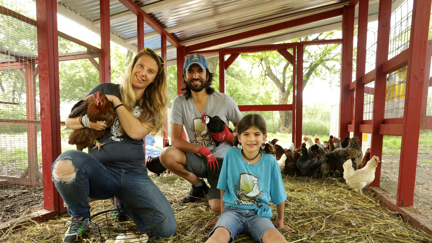 Casey Cutler, left, John Ramos, and 7-year-old Joplin Ramos run Urban Chicken from their home in McKinney, and have seen a dramatic increase in the number of people buying chickens and coops since COVID-19 began keeping everyone at home.