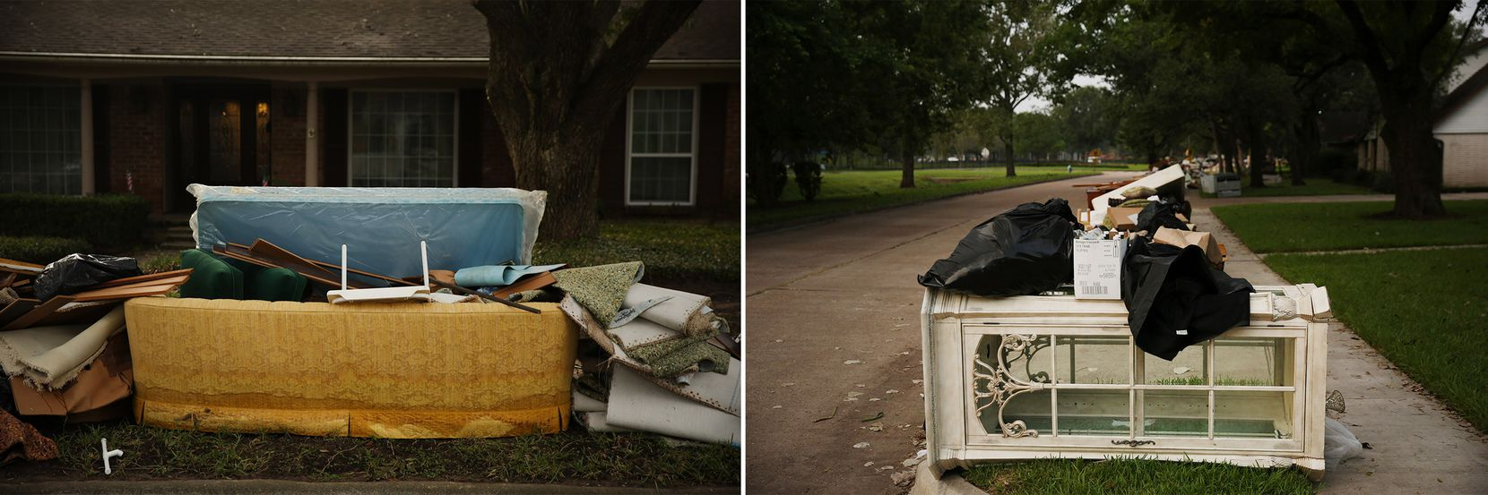 Furniture and carpet were a common sight in the neighborhood, where front lawns resembled junkyards a week after Harvey.