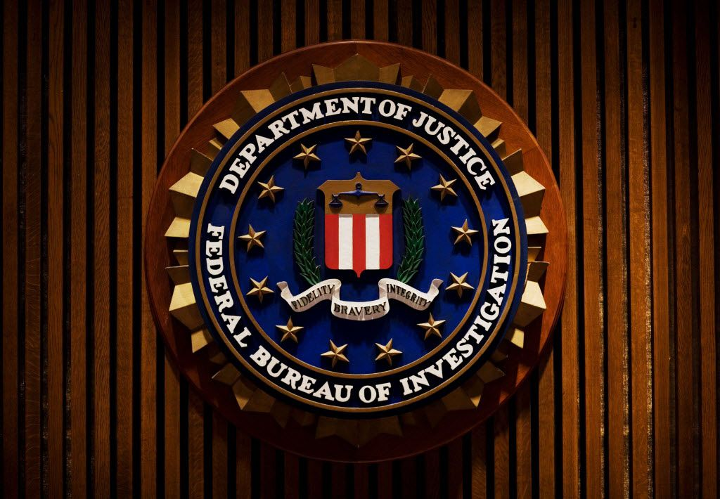 A crest of the Federal Bureau of Investigation(FBI) inside the J. Edgar Hoover FBI Building in Washington, DC.