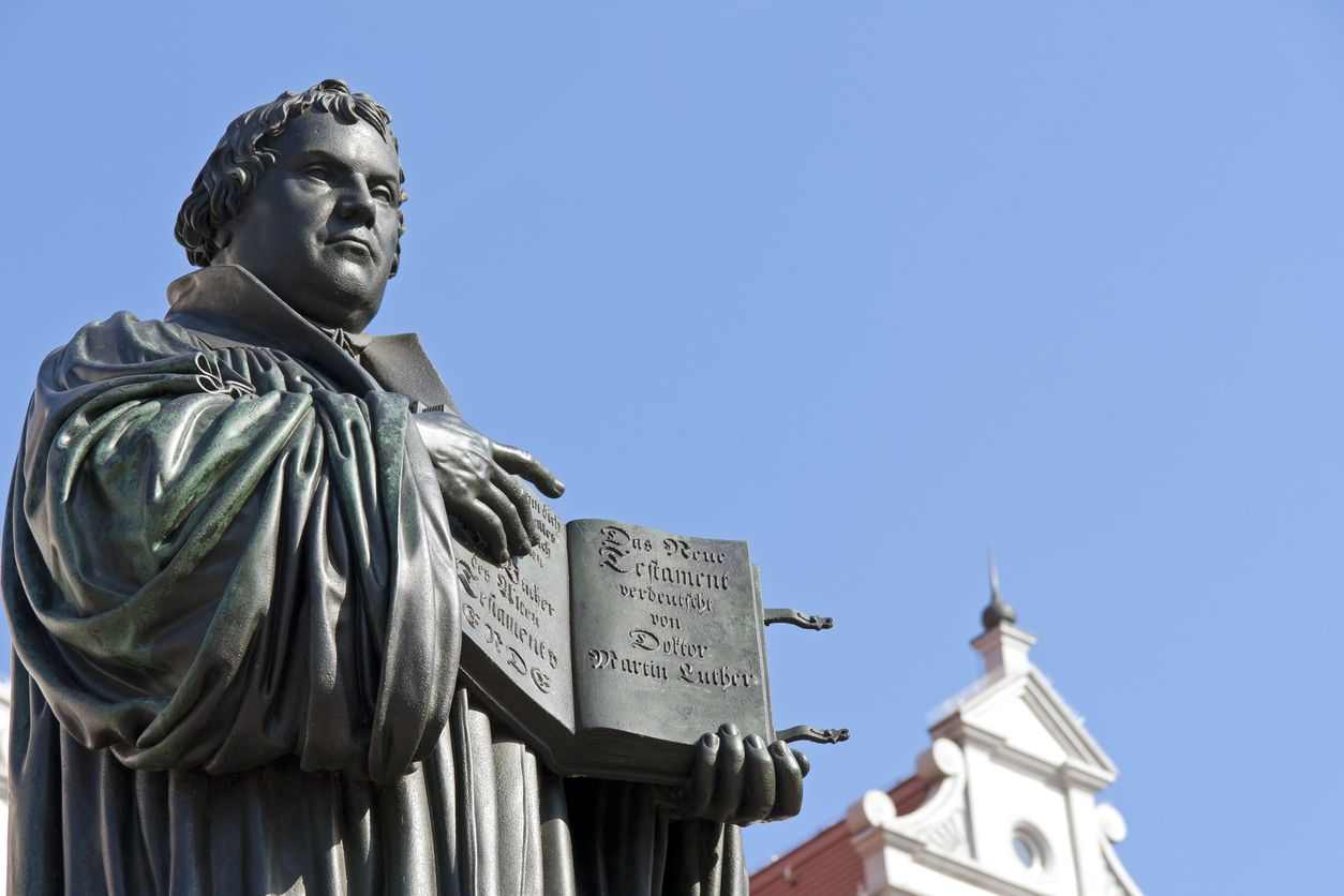 The monument of Martin Luther in Wittenberg, Germany, was the first public monument of the reformer and was designed 1821 by Johann Gottfried Schadow. Luther (1483-1546) was a German monk, theologian and church reformer and translated the Bible into German. He is also considered to be the founder of Protestantism. He lived and worked many years in Wittenberg.