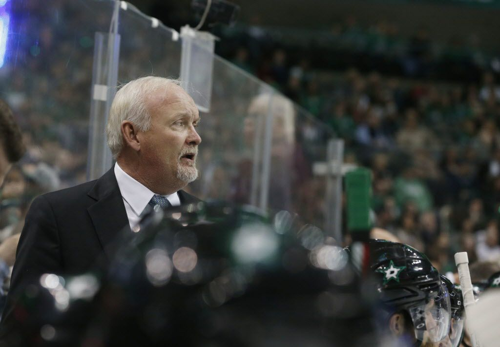 Dallas Stars coach Lindy Ruff watches as his played the Florida Panthers during the first period of an NHL hockey game in Dallas, Saturday, Dec. 31, 2016. (AP Photo/Michael Ainsworth)