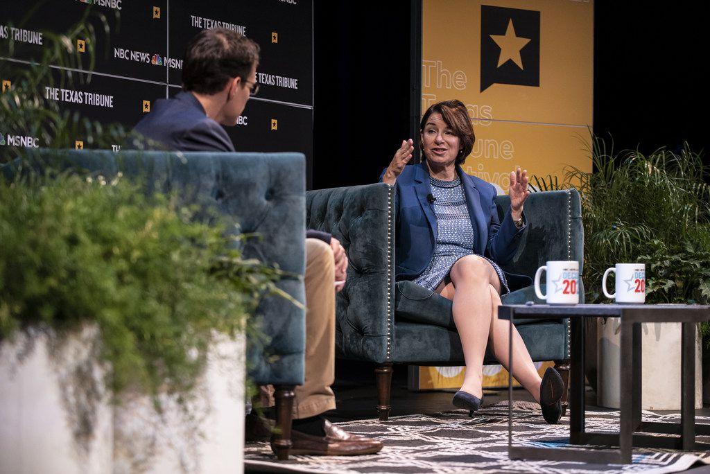 Sen. Amy Klobuchar, D-Minn., answers a question from NBC correspondent Steve Kornacki during a panel at the Texas Tribune Festival in Austin.