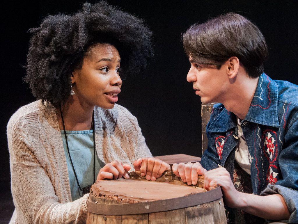 Tiana Kaye Johnson and Omar Padilla perform in Yemaya's Belly, by Pulitzer Prize-winning playwright Quiara Alegria Hudes, for Cara Mia Theatre Company at Latino Cultural Center in Dallas March 4-19, 2017.