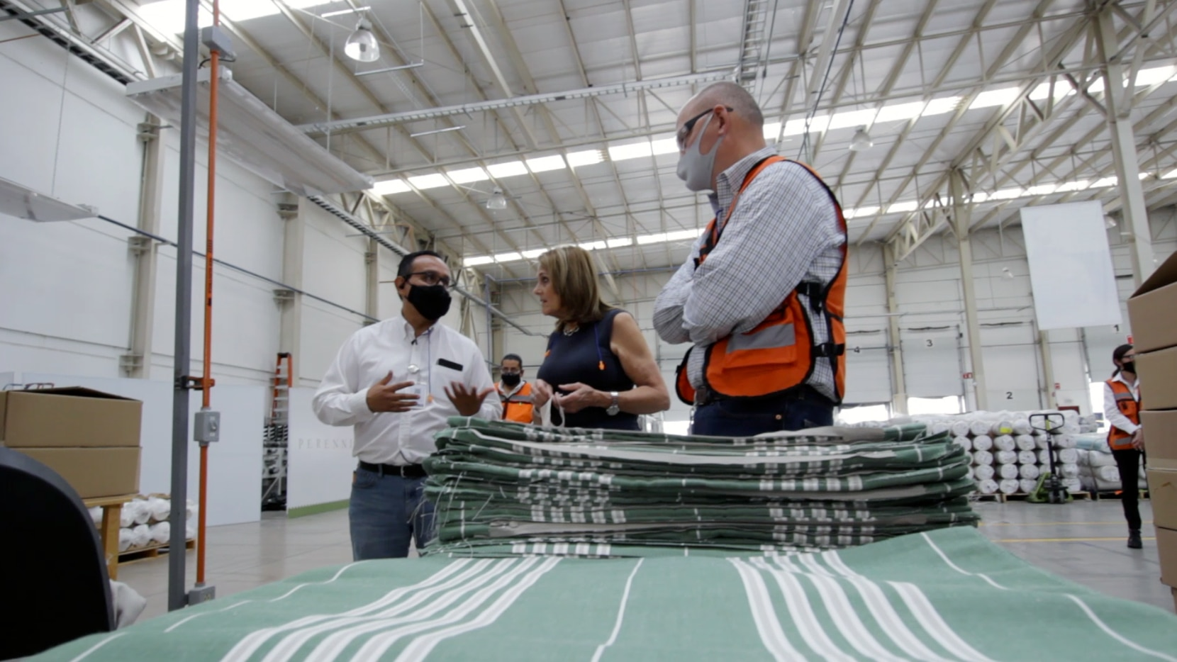 Ann Sutherland, CEO of Perennials and Sutherland, tours the company's expanded production facility in San Luis Potosi, Mexico, in June 2021. The facility will increase production by 30% to help meet increased demand.