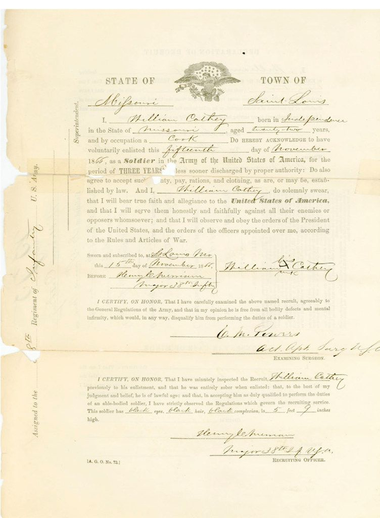 """The original enlistment papers for Cathy Williams, a.k.a. """"William Cathey,"""" displayed in an educational article about Buffalo Soldiers by the National Park Service."""