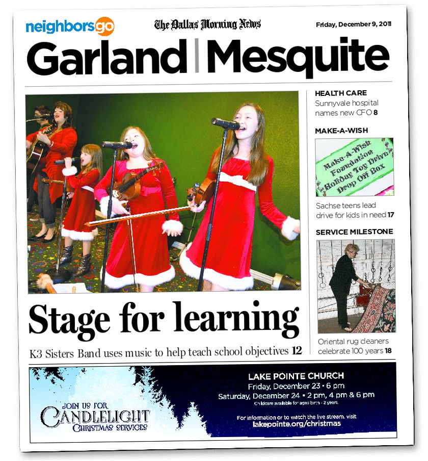 The K3 Sisters Band appeared on the cover of The Dallas Morning News' Garland/Mesquite edition of NeighborsGo in December 2011.