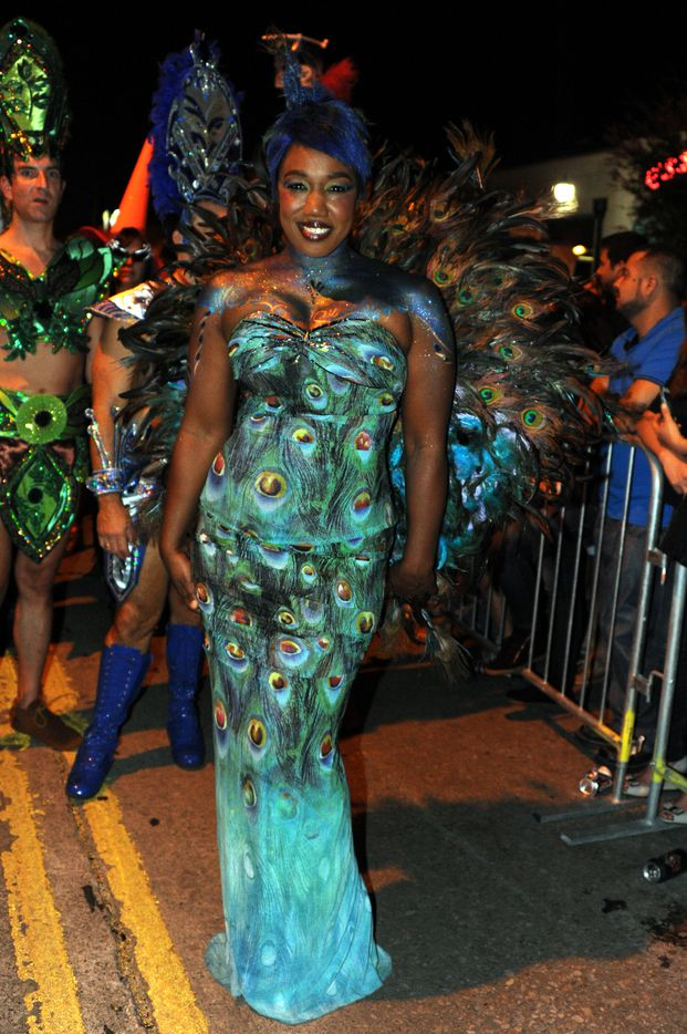 Lisa Bohannon dresses as a peacock at the annual Oak Lawn Halloween Block Party in Dallas, TX on October 25, 2014. (Alexandra Olivia/ Special Contributor)