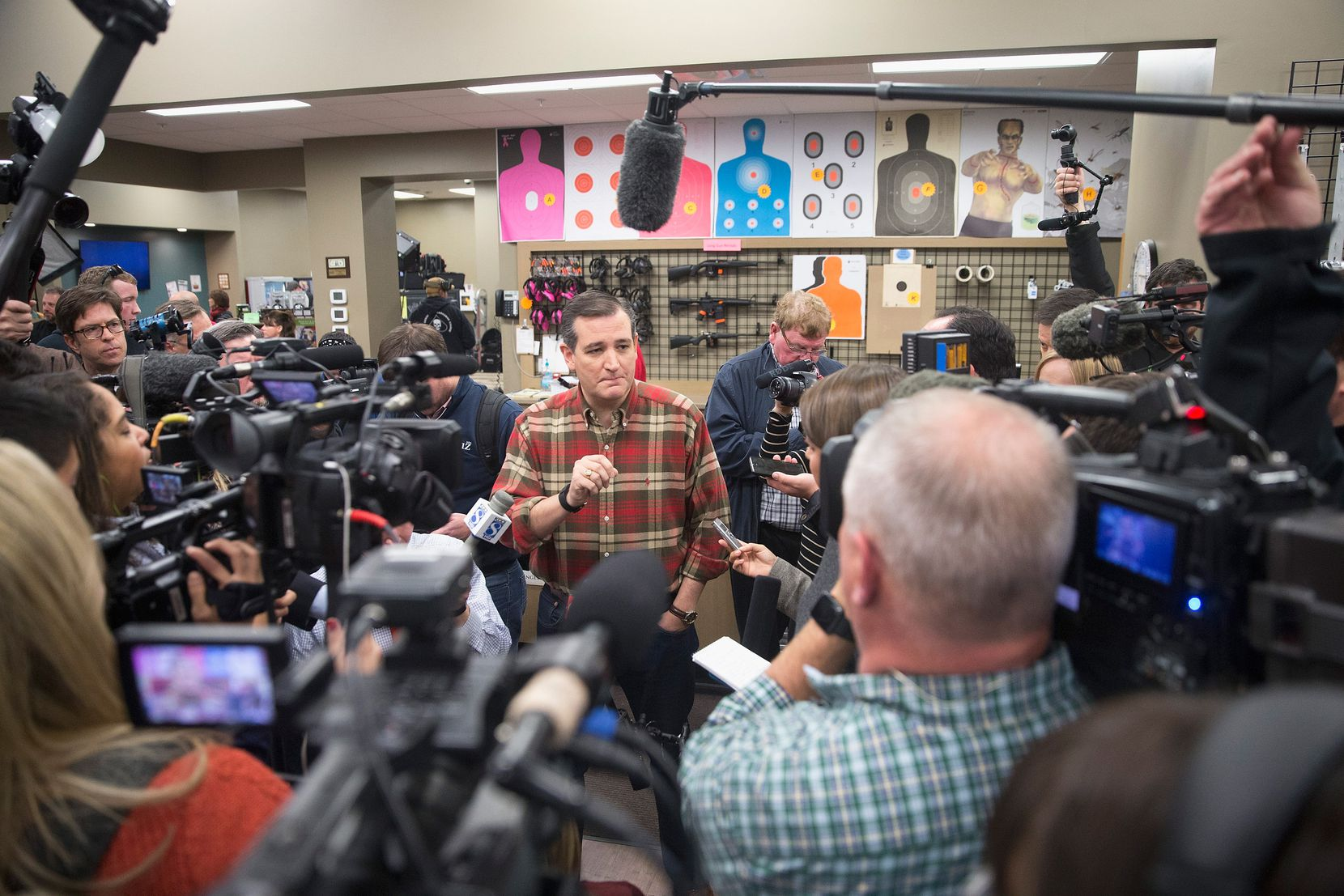 Sen. Ted Cruz campaigned for president at CrossRoads Shooting Sports gun shop and range on Dec. 4, 2015, in Johnston, Iowa.