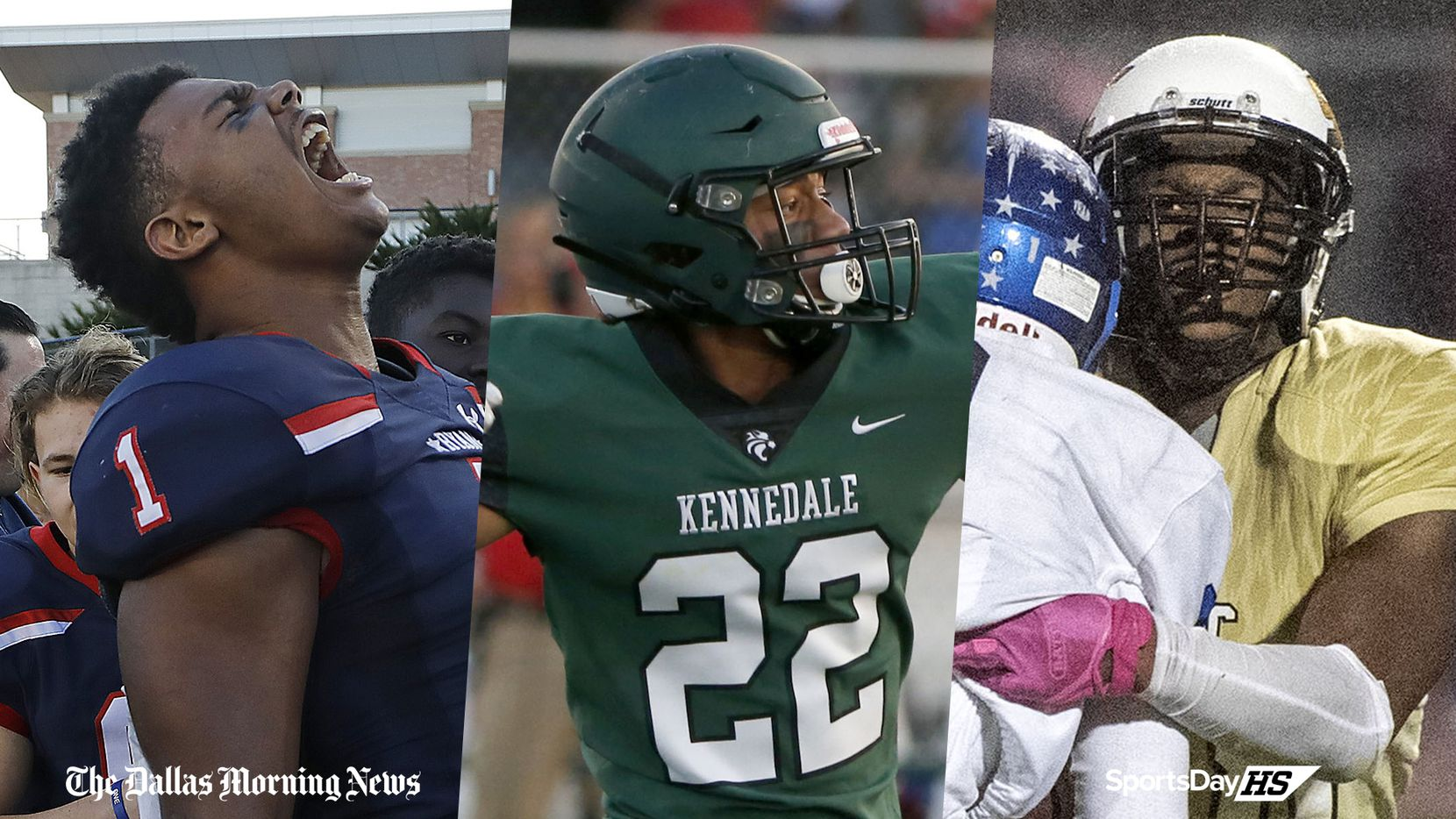 From left to right: Denton Ryan's Ja'Tavion Sanders, Kennedale's JD Coffey and South Oak Cliff's Jaydon Williams.