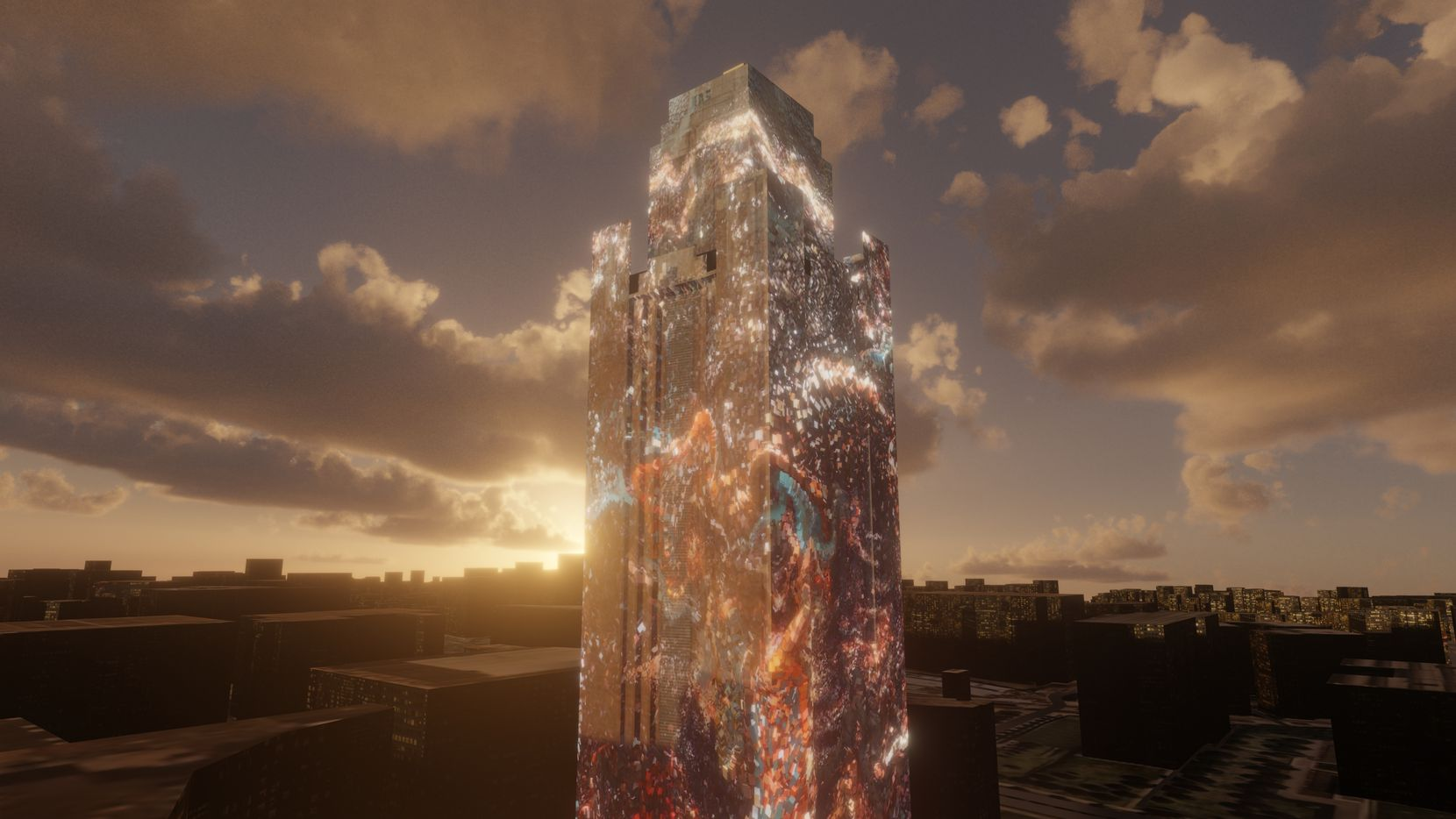 A render of Pioneer Tower Dreams, a projection by Refik Anadol created for New Stories: New Futures in Fort Worth. (Refik Anadol)