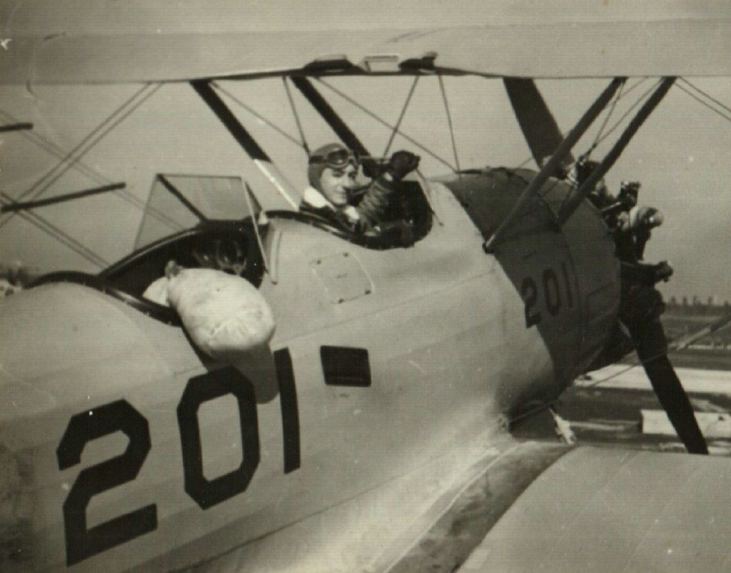 """Jack """"Dusty"""" Kleiss in 1940, in his first solo flight. From Never Call Me a Hero: A Legendary American Dive-Bomber Pilot Remembers the Battle of Midway."""