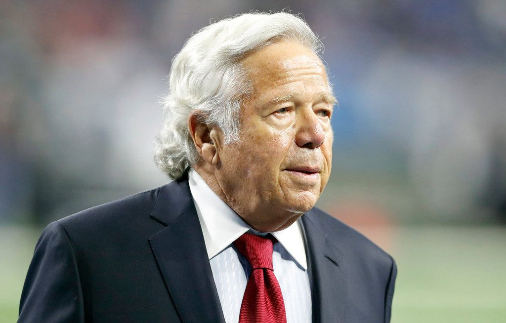 FILE - In this Sept. 23, 2018, file photo, New England Patriots owner Robert Kraft walks on the sidelines before an NFL football game against the Detroit Lions in Detroit. Kraft has pleaded not guilty to two counts of misdemeanor solicitation of prostitution. Kraft's attorney Jack Goldberger filed the written plea in Palm Beach County, Fla., court documents released Thursday, Feb. 28, 2019. The 77-year-old Kraft is requesting a non-jury trial.