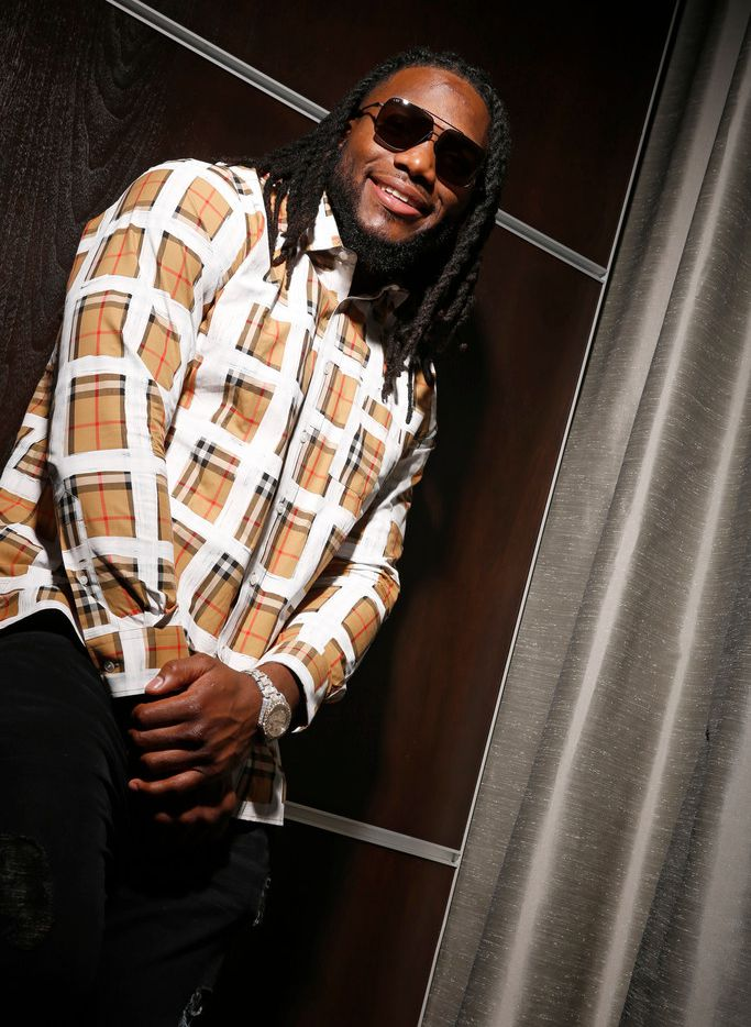 Dallas Cowboys linebacker Jaylon Smith  models his Clear Eye View signature eye wear collection at Frisco Lincoln Experience Center st The Star in Frisco on Dec 14, 2018.