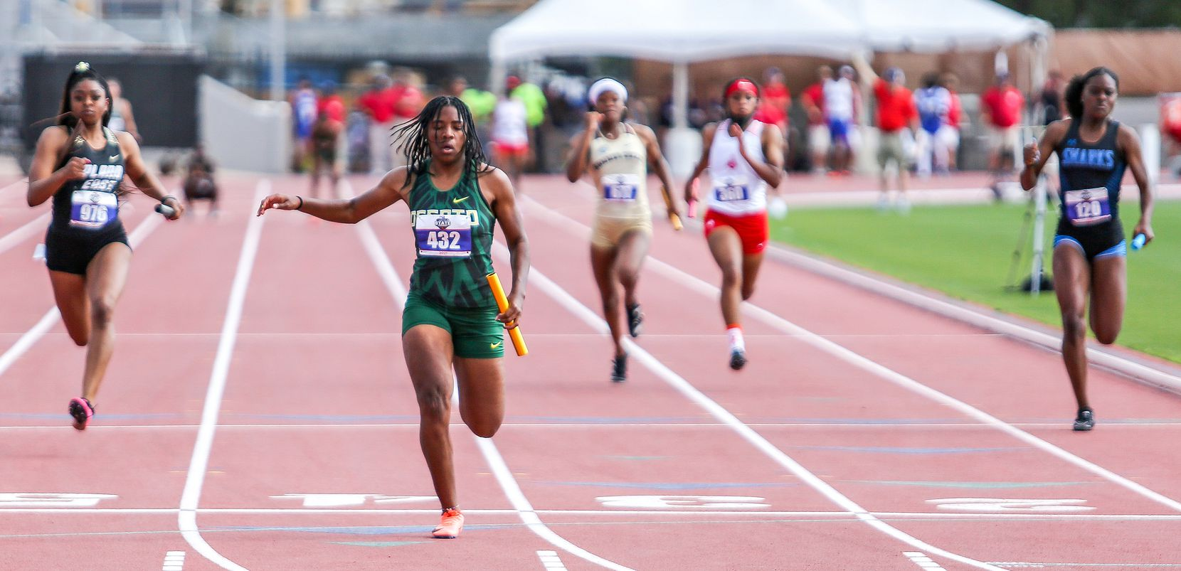 Mia Abraham of DeSoto crosses the finish line in third place in the 6A Girls 4x100 meter relay during the UIL state track meet at the Mike A. Myers Stadium, at the University of Texas on May 8, 2021 in Austin, Texas.
