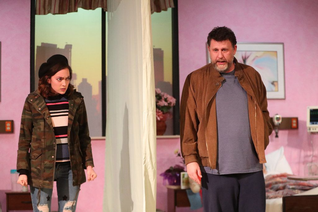 Janielle Kastner as Karla and Thomas Ward as Don in the regional premiere of Halley Feiffer's A Funny Thing Happened on the Way to the Gynecologic Oncology Unit at Memorial Sloan Kettering Cancer Center of New York City at Stage West Theatre in Fort Worth.