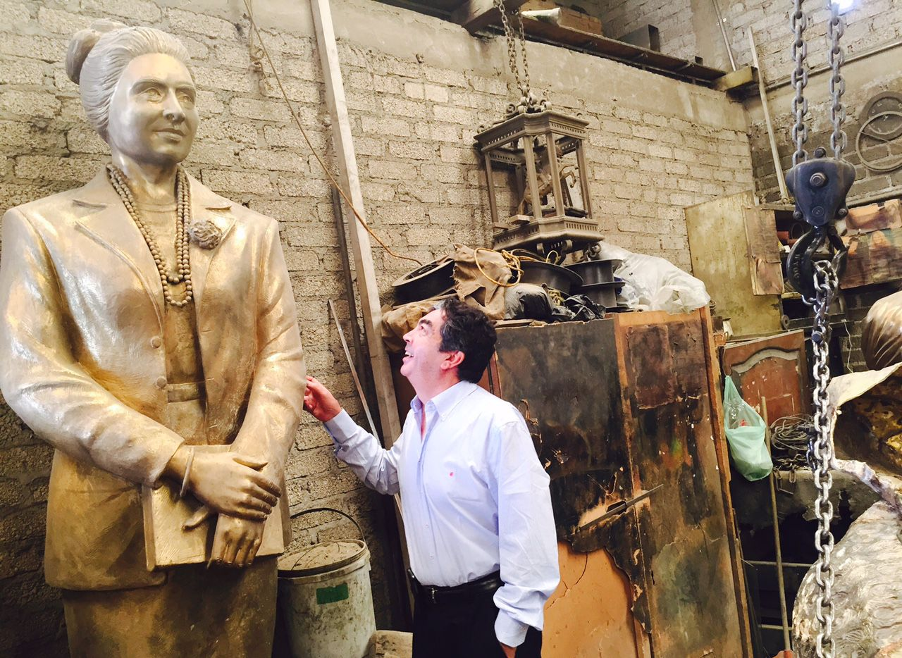 Sculptor Germán Michel explains the making of the Adelfa Callejo statue in his studio in Mexico in the summer of 2015.