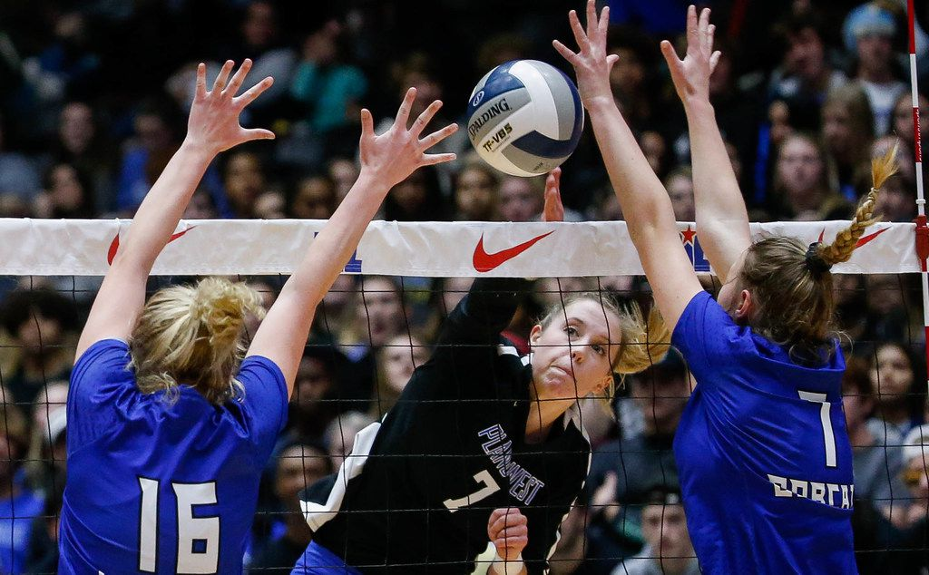 Plano WestÕs Jill Pressly (7) tips the ball over the net in the second set of a class 6A volleyball state final match against  Trophy Club Byron Nelson at the Curtis Culwell Center in Garland, on Saturday, November 23, 2019. Nelson won the second set 25-12. (Juan Figueroa/The Dallas Morning News)