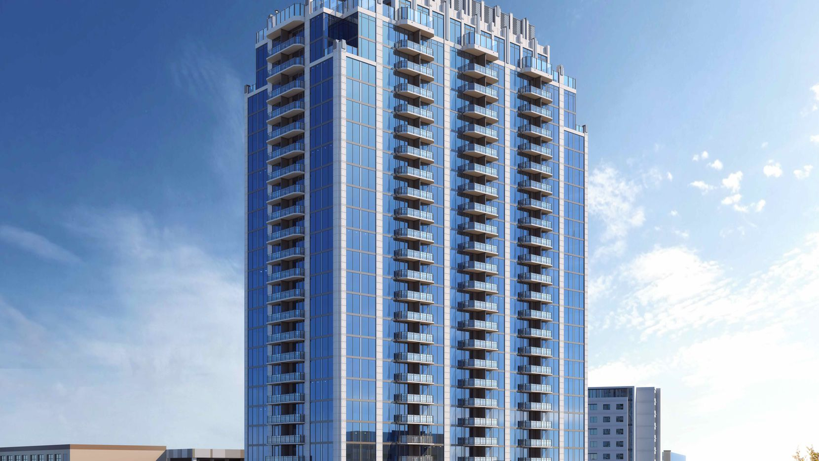 The 25-story SkyHouse Frisco Station apartment tower will open in 2019.