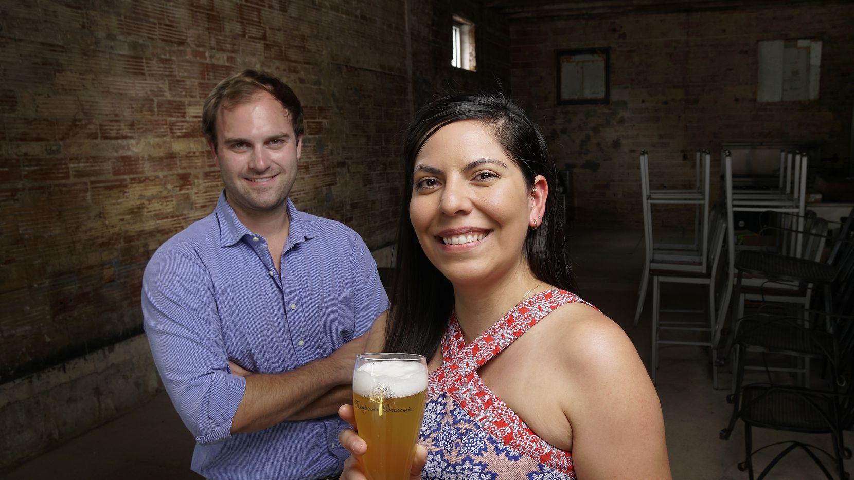 Jeff Karetnick and April Segovia stand inside the future home of Meyboom Brasserie on Greenville Avenue in Dallas.