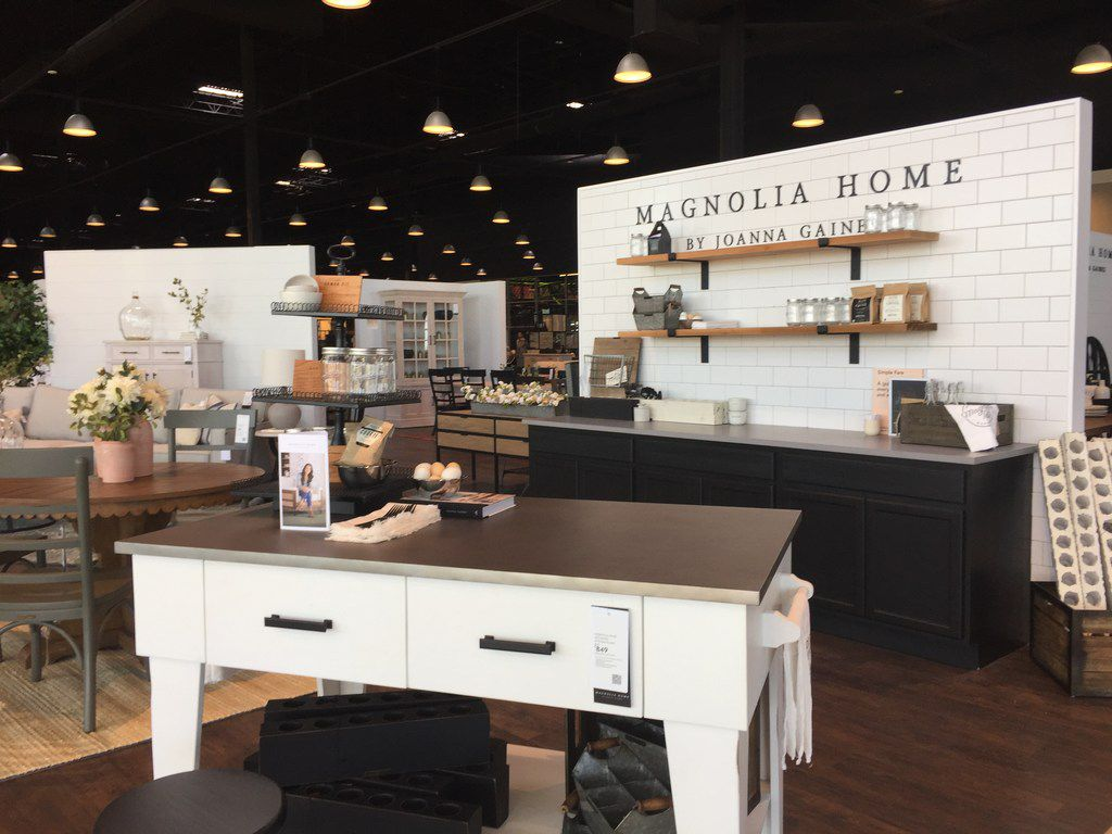 Magnolia Furniture by Joanna Gaines is shown at the entrance of Living Spaces, which opened in Grand Prairie at 1514 Arkansas Lane on Friday.