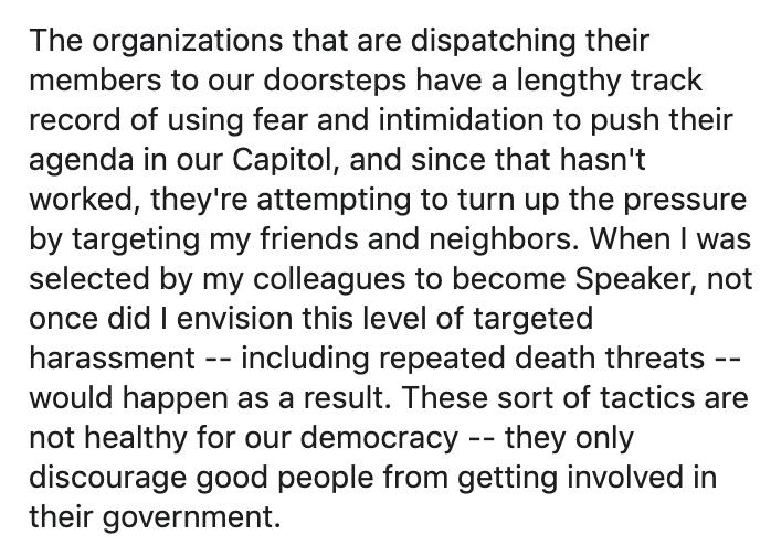 A portion of Speaker Dennis Bonnen's Facebook post Sunday night.