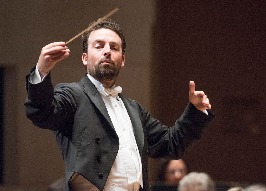 Conductor James Gaffigan, shown in a November 2017 performance by the Dallas Symphony Orchestra, returns April 11 to 13.