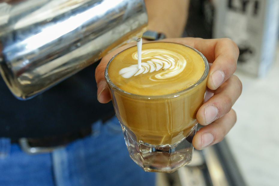 Ascension Coffee sells lattes, cappuccinos and (pictured) cortados. Coffee geeks tend to gravitate toward the pour-overs — a rotating selection of three rare coffees priced at $4.50 to $12 a cup.