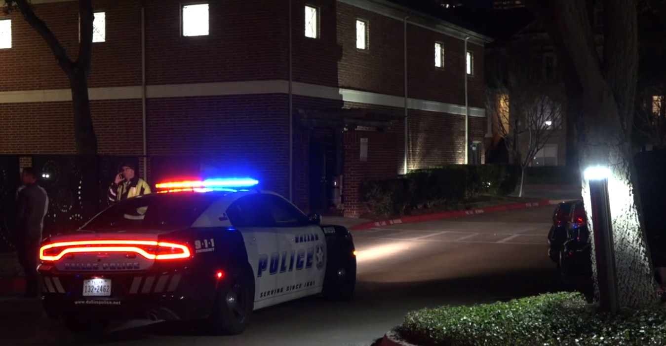 Dallas police at the scene of a shooting in which a 19-year-old was wounded in the 2200 block of Canton Street in downtown Dallas on Jan. 18, 2020.