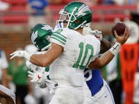 North Texas Mean Green quarterback Jace Ruder (10) throws a pass during the first half as SMU hosted UNT at Ford Stadium in Dallas on Saturday, September 11, 2021.