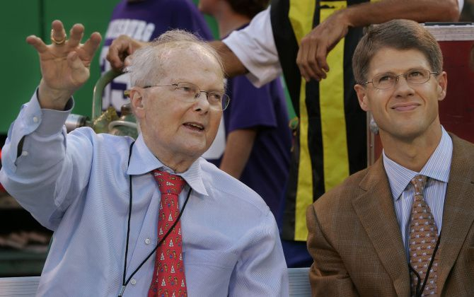 """I go to work thinking about preserving and growing my father's passion and legacy,"" Clark Hunt (right) says of the sports empire handed down by his father, Lamar Hunt."