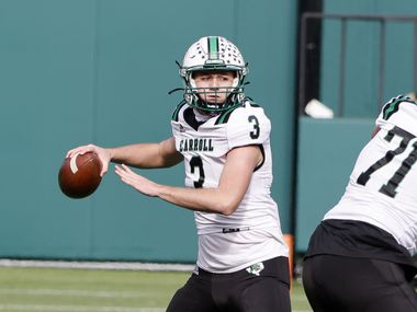 Southlake Carroll quarterback Quinn Ewers (3) throws a pass against Euless Trinity during the Class 6A Division I Region I high school football final, in Arlington, Texas, on Jan. 2, 2020.
