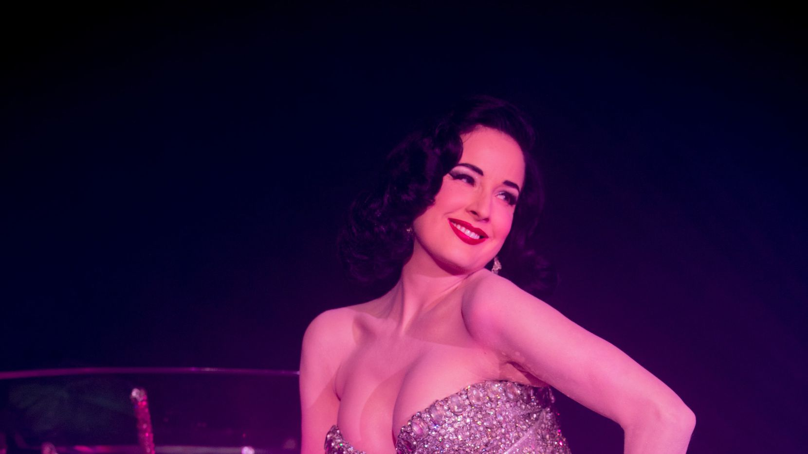 Burlesque star Dita von Teese performed in front of (and in) her giant martini glass at Friday's opening gala of Forty Five Ten.