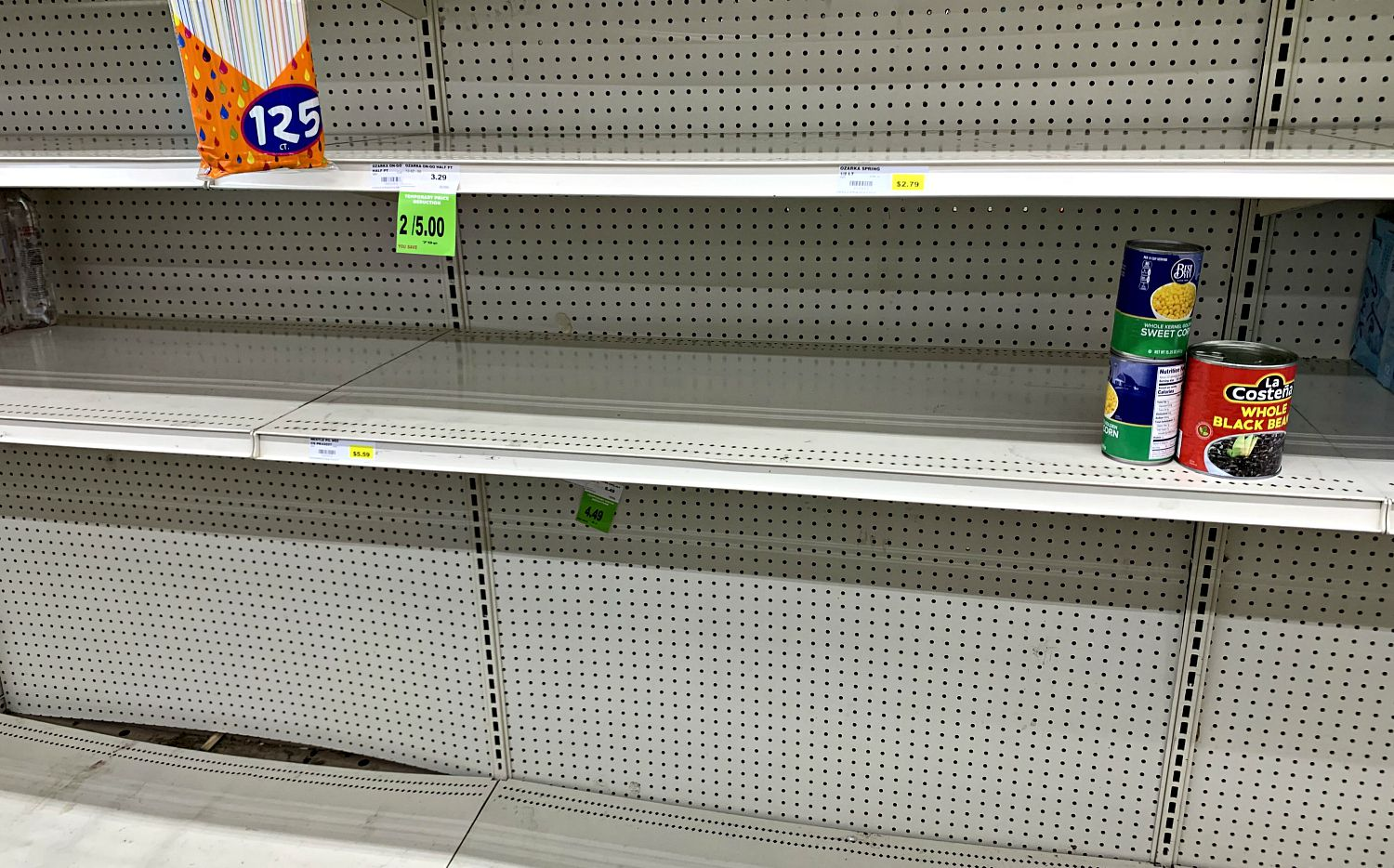 Empty shelves at the Rio Grande Latin Market on Webb Chapel Road in northwest Dallas Friday morning