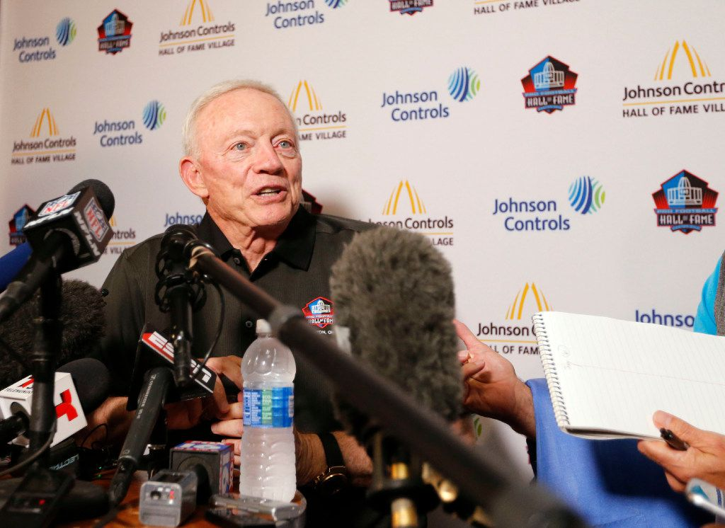 Pro Football Hall of Fame inductee Jerry Jones, owner of the Dallas Cowboys answers questions from the media during a press conference at Canton McKinley High School in Canton, Ohio on Friday, August 5, 2017. (Vernon Bryant/The Dallas Morning News)