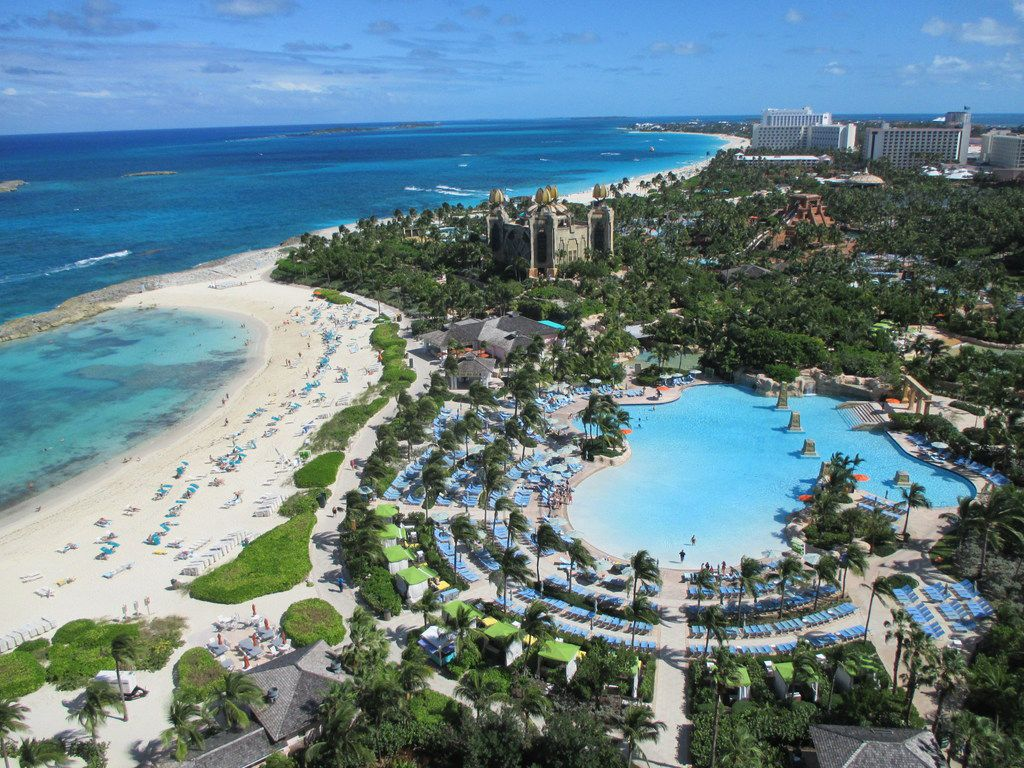 Atlantis Paradise Island in the Bahamas features a Mayan-themed water park right by the sea.