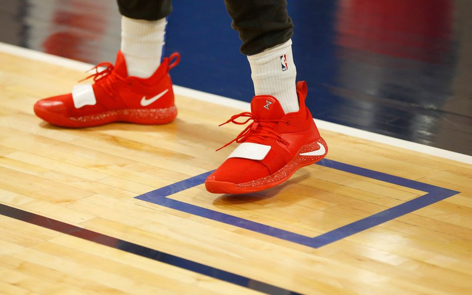 Squares are seen past the three point line on the practice court during training camp practice at the Dallas Mavericks practice facility in Dallas on Wednesday, October 2, 2019. (Vernon Bryant/The Dallas Morning News)