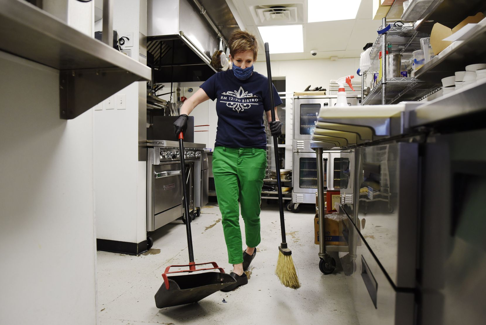 "Erin Willis, executive chef and owner of RM 12:20 Bistro, was in the restaurant Monday with several staff members as they cleaned and prepared for the week's curbside operation.  Willis appreciates the seriousness of the coronavirus pandemic, but she also fears for small-business owners. ""If we keep up with this mentality that the sky is falling, there's not going to be any of us left,"" she said."