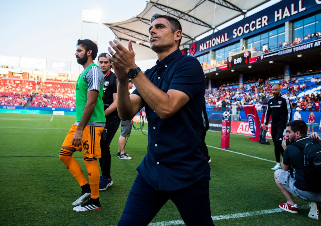 FC Dallas coach Luchi Gonzalez enters the field before an MLS game between FC Dallas and Houston Dynamo on Sunday, August 25, 2019 at Toyota Stadium in Frisco, Texas.